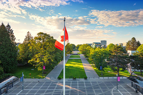 Flagpole plaza looking south down Main Mall, Photo: Hover Collective